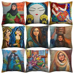 Ragazza di fiore della pittura a olio online-Lady Donna Islam Cultura Cuscino Copertine Acquarello Pittura ad olio Flower Girl Lino Pillow Case 45X45cm Bedroom Sofa Decoration