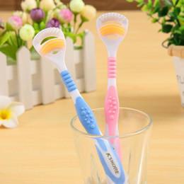 cepillo de dientes de oro Rebajas K SHORE Lengua Limpia Adulto Cepillo de Dientes Gingival Rocío Doble Limpia Lengua Escudo Cepillo Mango Oro 908