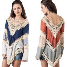 Vestido de crochet solto on-line-Mulheres verão vestido de Algodão Rendas menina mini vestido Puro V-Neck Solto Rendas Crochet Oco feminino nagerwear Praia Backless clothing