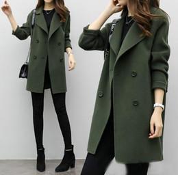 Slim nuove donne misto lana del cappotto lunghi cappotti Giacche manica Turn down Collar Casual Jacket Autunno Inverno Giacca elegante soprabito