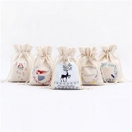 lona dos cervos Desconto Armazenamento dos doces impressão de natal bolsa de lona de pano de algodão Sacos de Papai Noel cervos Flor Imprimir presente Bundle bolso 3 7zs H1