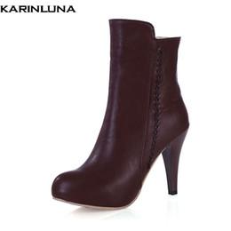 a1b585d0 KARINLUNA 2018 venta caliente de gran tamaño 34-43 de tacón alto elegante  botines zapatos de mujer agregar piel otoño invierno zapatos mujer botas  botas ...