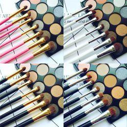 Pincel de maquillaje de pelo de caballo online-7 unids Sombra de Ojos Pinceles de Maquillaje Set Natural Horse Pony Cosméticos Para el Cabello Suave Mezcla Smudge Shader Brush Beauty Kit