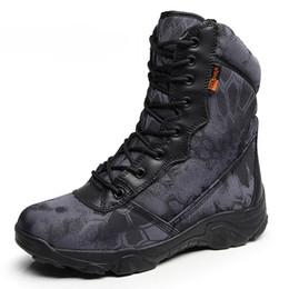botines vintage para hombre Rebajas Hombres Botas del Ejército Militar Vintage Lace Up Front Leather Mens Tactical Boots High Top zapatos de trabajo de seguridad Combat Ankle Boots XX-405