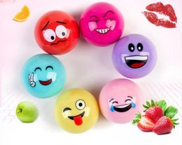 Batom outono on-line-Saúde Emoji Lip Balm Girl 3D Bola Redonda Batom Bonito Dos Desenhos Animados Hidratante Batom Hidratante para o Outono Inverno Bola Lipbalm CZ82