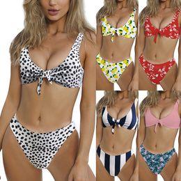 Trajes de impressão de leopardo on-line-Estampa de leopardo bowknot set Bikini Swimsuit Nó Floral Maillot De Bain Sexy Swimwear Listrado Dot Traje Da Bagno Donna Maiô LJJA2276