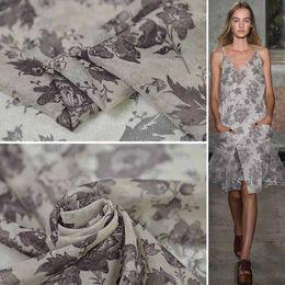 Röcke seidenblumen online-Rock National Flower Printing und Färben 100% echte Seide Lose Coat Fabric Coat Design Fabric