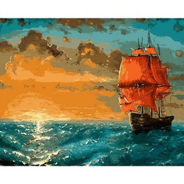 oil painting dream Promo Codes - Painter Dream: DIY Oil Painting By Numbers Ocean theme 50*40CM 20*16 Inch On Canvas For Home Decoration [Unframed]