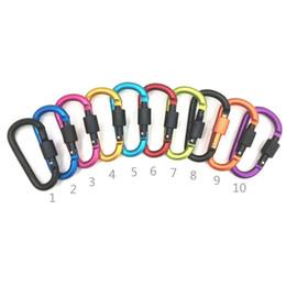 Fibbia appesa a portachiavi online-Diametro addensato 8 CM Colorati In Lega di Alluminio D Stili Arrampicata Moschettone Portachiavi Appeso Gancio Campeggio Backpacking Fibbia LJJZ327