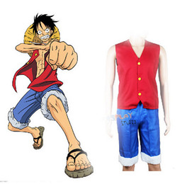 Traje vermelho japonês on-line-ostumes Acessórios Trajes Cosplay Japonês One Piece Set Cosplay Anime Macaco D Luffy Vest Calças Red Waistcost Azul Shorts Man Trous ...