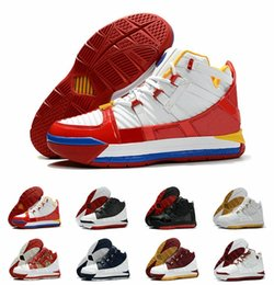 2019 zapatos james 12 2019 Recién llegado # 23 Zoom III 3 Home SuperBron zapatos de baloncesto para hombre de alta calidad blanco azul rojo negro James 3s zapatillas deportivas US7-12 zapatos james 12 baratos