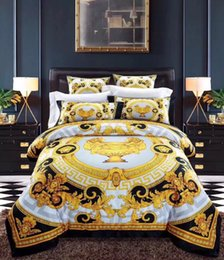 wash machine size Coupons - Fashion European Style Luxury Gold Bedding set Fashion Bed Queen Size Duvet Cover Bed Skirt Pillowcases Brand Design Letter V Bedding