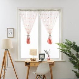 piuma di pavone giallo Sconti Cortina corta mantovana mantovana tende voile ricamate piuma di pavone tulle trasparente per la casa soggiorno balcone schermo della finestra