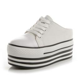 2019 chiusura di pizzo scarpa 2019 nuove scarpe di tela con la suola spessa di fascia alta moda semplice scarpe casual in pizzo sconti chiusura di pizzo scarpa
