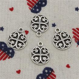 Braccialetto fiore da discoteca online-234pcs charms nodo fiore disco 14mm ciondolo, pendente d'argento tibetano, per gioielli fai da te bracciali accessori gioielli