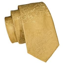 Seide Herren Krawatte Set Floral Gelbgold Krawatten und Taschentücher Manschettenknöpfe Set Herren Hochzeitsfest Anzug Fashion Neck von Fabrikanten
