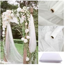 2019 simples cenários de casamento Barato! 48 cm * 5 metros Sheer Cristal Organza Tule Tecido De Rolo Para Draping Wedding Ceremony Party Decoração de Casa de Ano Novo Decoração