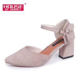 Chaussures habillées de designer printemps nouvelle mode talon haut pointu racine femme banquet en daim toile un mot boucle ? partir de fabricateur