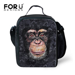 small bag monkey Promo Codes - FORUDESIGNS Animal Monkey Pug Dog Lunch Bag Cool Insulated Adult Men Women Lunch Box Small Kids Lunchbox for School Keep Warm