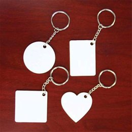 Anneaux carrés en plastique en Ligne-Sublimation Porte-clés en plastique vierge Rectangle Rond coeur coeur porte-clés impression de transfert à chaud impression nouveau style