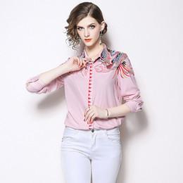 Argentina Camisas Tops para mujeres Imprimir Slim Fit Camisa con cuello de solapa Elegante Rosa Blusa Casual de manga larga Suministro