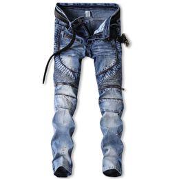 Moda homens ponto jeans on-line-2019 dos homens novos de moda jeans stretch Personalidade pintura ponto Zipper calças calças plissados motocicleta Mais Tamanho 30-36 38