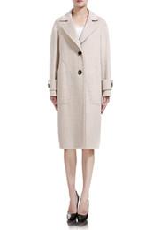 Cappotto bianco doppio online-Autunno Inverno Donna Vestiti Moda Donna Cappotto di lana Grigio Bianco Lungo stile Doppio petto Giacca di lana Miscuglio di lana Cappotto caldo spesso