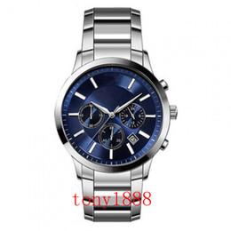 relógio lona de couro feminino Desconto Transporte da gota AR2448 AR2434 AR2453 AR2452 AR2454 AR2472 AR2472 homens de qualidade Superior relógio de quartzo dos homens de aço Inoxidável relógios de Pulso com caixa