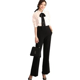 wide formal pants Coupons - Spring Office Lady Outfit Ribbon Bow Tie Beading White Blouse Shirt+Black Wide Leg Pant Suit Formal Women 2 Piece Set