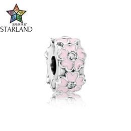 прекрасная клипса Скидка Starland Fine Detail 925 Sterling Silver Elegance Clip CZ Pink Primrose Charms fits Original Charm Bracelet DIY  & Jewelry