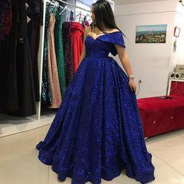 Dres sera online-Royal Blue Sequined Prom Dresses Una spalla Una linea Abiti da sera Arabia Saudita Medio Oriente Piano Lunghezza Stunning formale Partito Dres