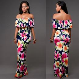 2019 vestido de estilo plisado gris Barato Otoño Maxi Floral Impreso Vestidos Mujeres Vestidos Largos 2019 Off The Shoulder Vestidos de Playa Vestido de Fiesta de Bodycon de Fiesta S-5XL