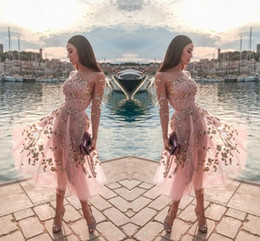 2020 vestido de baile de manga curta de tule rosa Rosa de Tule Comprimento Tea Party Sheer Neck Mangas Compridas Rendas Apliques Festa Formal Curto Prom Vestidos de Noite Das Mulheres Vestido Ocasional desconto vestido de baile de manga curta de tule rosa