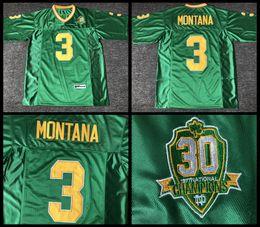 2019 jersey patriota negro Las acciones estadounidenses Joe Montana Football Jersey # 3 Fighting Irish de Notre Dame Hombres camiseta de fútbol College School