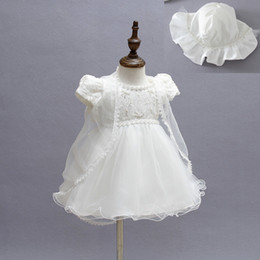 girls cardigans pearls Promo Codes - Newborn Girls Princess Dress Set Hollow Solid Back Bow Christening Gown Kids Designer Clothes Lace Transparent Cardigan White Pearl Hat