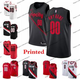 0fca643b0 printed basketball jerseys Australia - Printed Portland Damian Lillard 0  Trail City Blazer CJ McCollum Nurkic