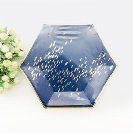 24 ensembles blush rose vaisselle assiettes en marbre hexagonal gobelets en papier bleu marine fête d'anniversaire anniversaire retraite nouvel an mariage ? partir de fabricateur