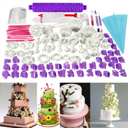 Силиконовый комплект для выпечки онлайн-94PCS DIY 3D торт украшения инструменты плунжер помадной выпечки Набор формы для выпечки силиконовые формы кухонный комплект делает плесень печенье тесто ролик набор