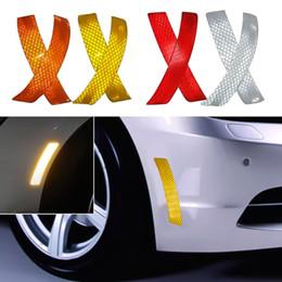 refletor auto Desconto 2 Pçs / set Carro Bumper Refletivo Faixa de Aviso Decalque Adesivos Auto Acessórios Refletor Adesivos Decalques Do Carro Styling