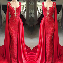 2019 myriam fares preto vestido de noite sereia 2020 New Red Lace Vestidos Neck Sheer com filme formal do partido vestidos de árabes Pageant Red Carpet Prom Dresses Vedidos