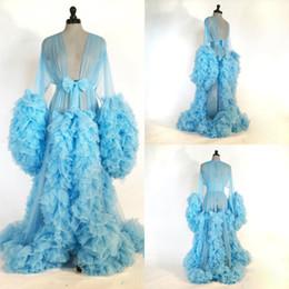 Braut-nachthemden online-2020 Sexy Nacht Robe Long Sleeve Tiered Rüschen Partei Nachtwäsche nach Maß Nightgowns Roben Braut Sexy Robe