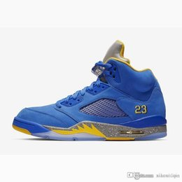 d58949b199c6 Cheap mens Jumpman 5s basketball shoes j5 Laney blue yellow White Oregon  Ducks Paris OG youth kids aj5 air flight sneakers boots with box  inexpensive cheap ...