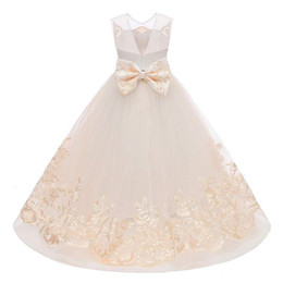 pictures flower girls dresses Coupons - Lovely Champagne Ball Gown Flower Girl Dresses Real Photo V Cut Back Appliques Puffy Tulle Girls Pageant Dress Kids Formal Wear