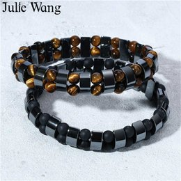 Желчные камни онлайн-Julie Wang Black Gallstone Bracelet Lava Stone Natural Tiger Eye  Bracelet Men Fashion Jewelry Bangle