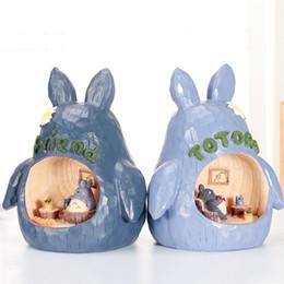 Amigos de escritorio online-Totoro Estatuilla Decoración para el Hogar Totoro Luz de Noche Miyazaki Luz de Noche Estatua Artesanía Amigo niños Regalo de Cumpleaños Adornos Mesa Arte Figuras