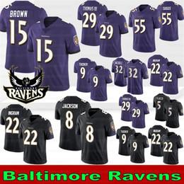 2019 marchio jersey 8 Lamar Jackson Baltimore Ravens pullover di football 29 Earl Thomas 15 Marquise Brown 9 Justin Tucker 55 Suggs 22 Mark Ingram 81 Hurst 2019