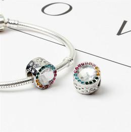 strass rainbow Sconti Monili di modo del branello di fascino della lega del Rhinestone dell'arcobaleno Stunning stile europeo misura per il braccialetto del braccialetto di Pandora