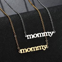 ( TN-0032) (48 см + 5 см ) подарок на День матери Мама письмо кулон ожерелья Для женщин Титановая сталь не выцветает золото / белый от