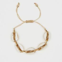 2019 grossistas pulseiras magnéticas para homens Pulseira para o sexo feminino Moda Concha Marinha Dourada Ajustável Natural Do Mar Shell Pulseira Beads Woven Shell Pulseira