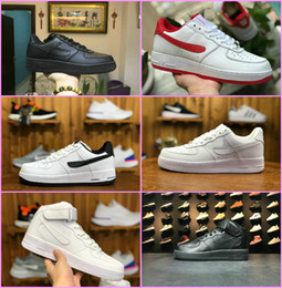 white knit fabric Promo Codes - 2019 New Forces Men Women Low Cut One 1 Shoes All White Black Dunk Forced 1s Sports Shoes Classic AF Fly Trainers High Knit Sneakers